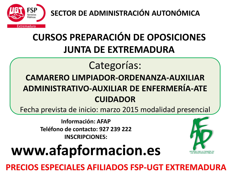 Cursos Preparación de Oposiciones Junta de Extremadura